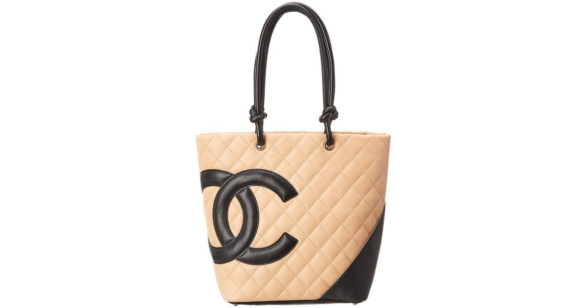 828f0a3489284a Lyst - Chanel Beige Quilted Lambskin Leather Medium Cambon Tote in Natural