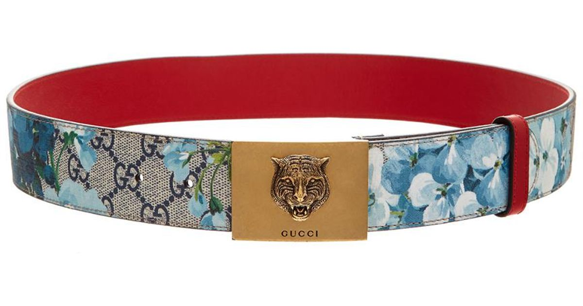 8d8aaee9741 Lyst - Gucci Blooms Gg Supeme Canvas Plaque Buckle Belt in Brown