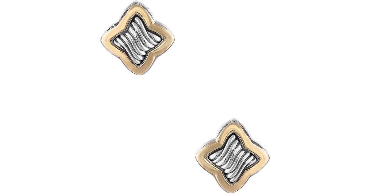 Lyst David Yurman Quatrefoil 18k Silver Earrings In Metallic