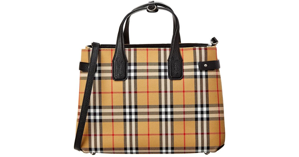 02db7ee04755 Lyst - Burberry The Medium Banner Vintage Check   Leather Tote in Black