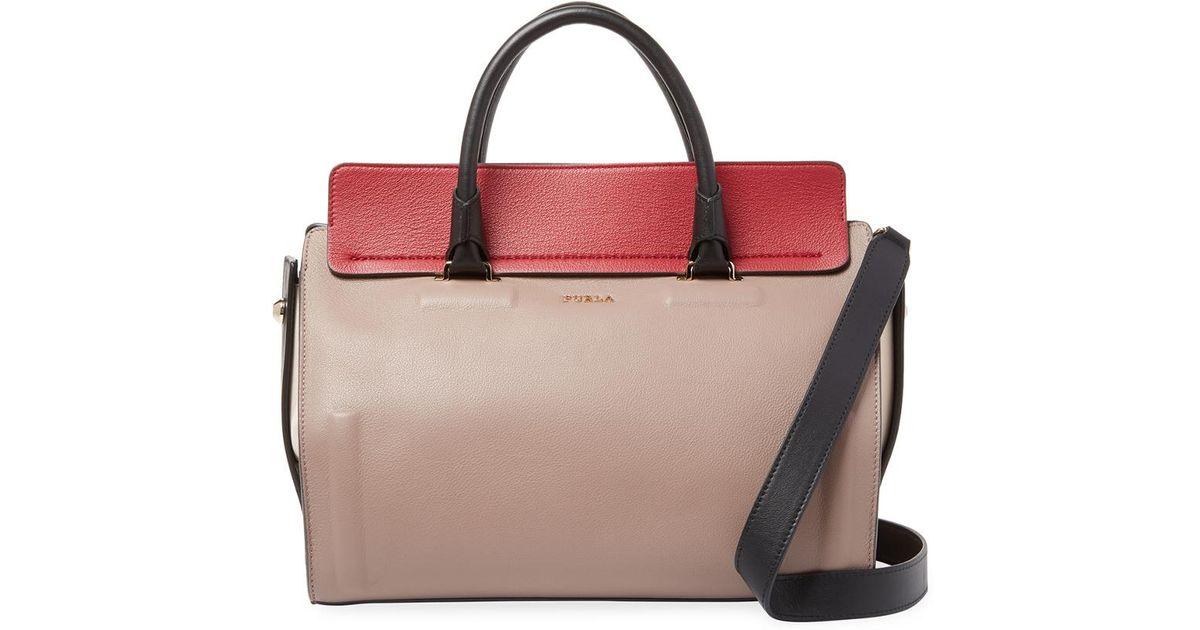 Leather Multicolor Satchel Furla Lyst Valentina Medium mN0nwv8O