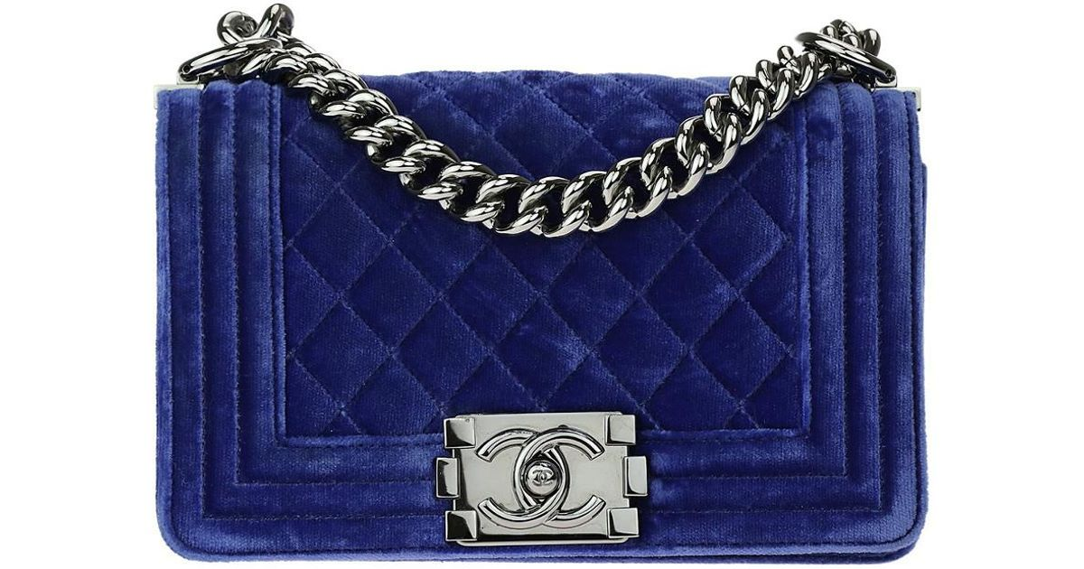 1d6b19519a03f7 Chanel Blue Quilted Velvet Small Boy Bag in Blue - Lyst