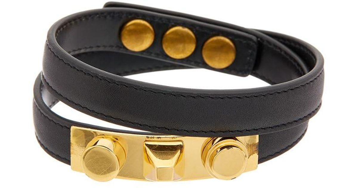 58b68027a80 Saint Laurent Ysl Double Wrap Leather Bracelet - Lyst