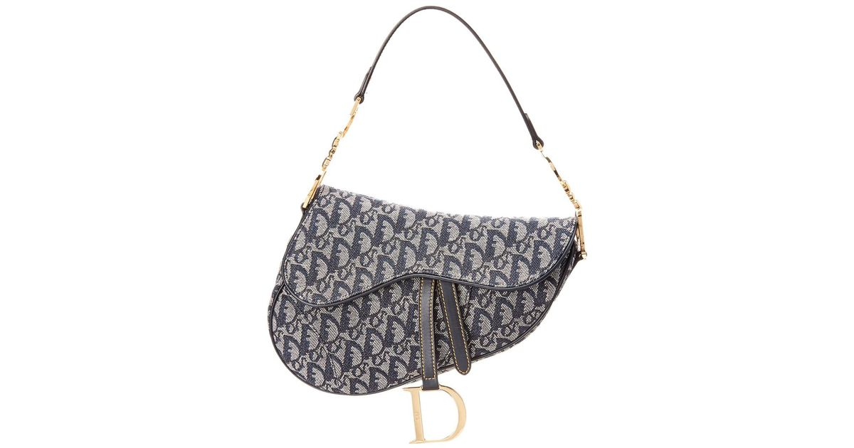 63f2a4543465 Dior Navy Trotter Canvas Saddle Bag in Blue - Lyst