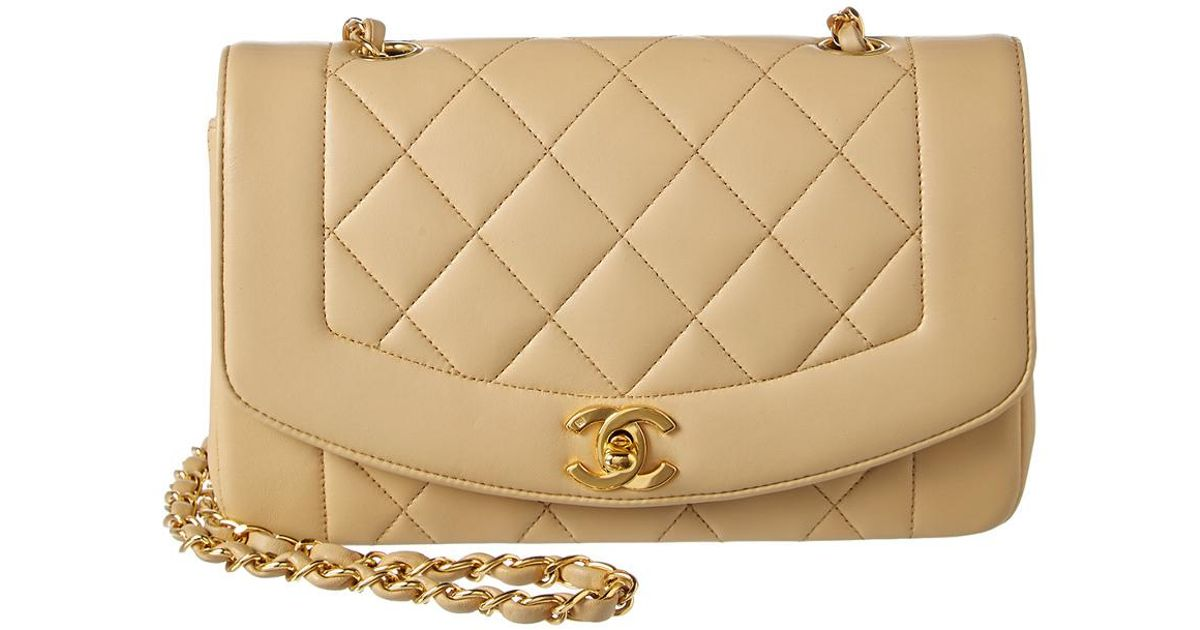 2dc7912ed00cab Chanel Beige Quilted Lambskin Leather Medium Classic Flap Bag in Natural -  Lyst