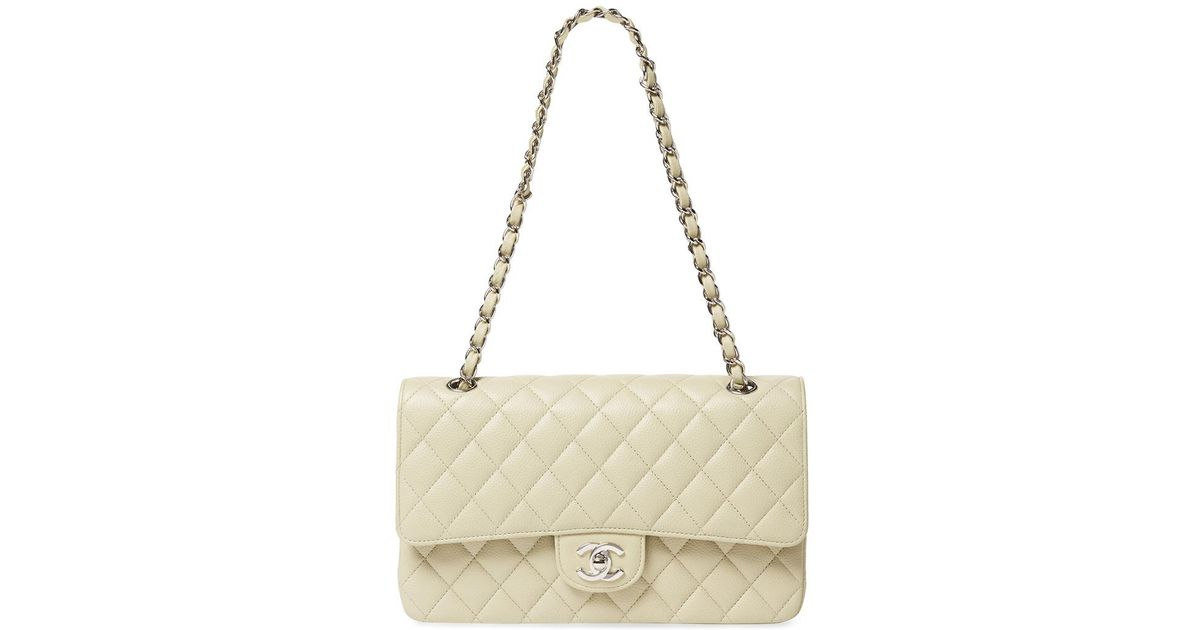 aa4c96b5dddb4f Chanel Mint Green Quilted Lambskin Leather Medium Single Flap Bag in  Natural - Lyst
