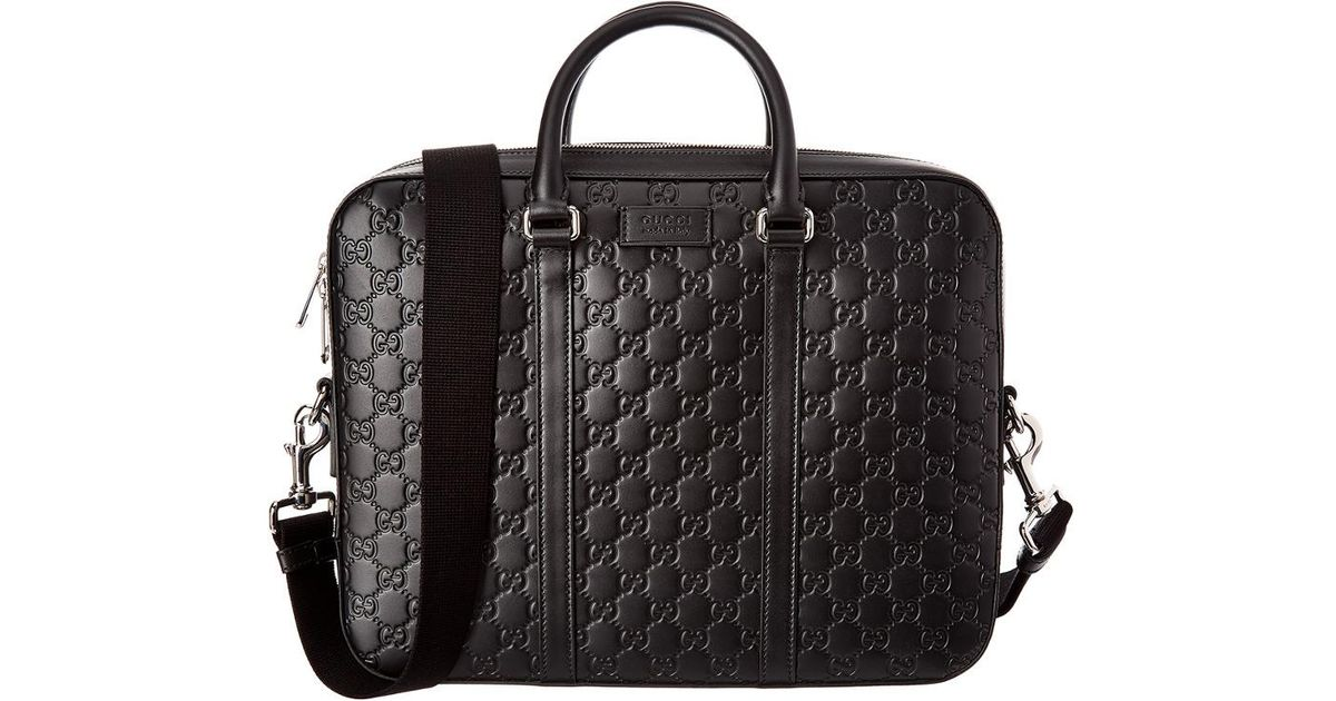 9fc6c50cb3bdd Lyst - Gucci Signature Leather Briefcase in Black for Men - Save 20%