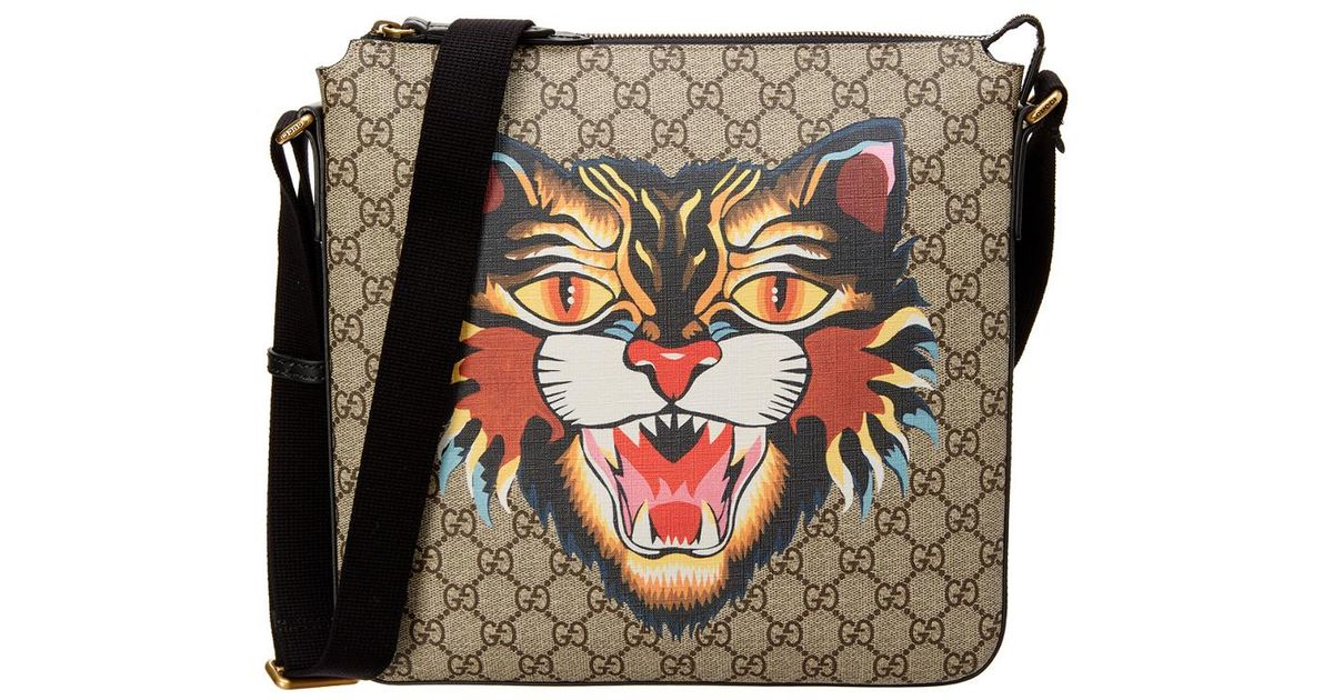 769d3c72e39f Gucci Angry Cat Print Gg Supreme Messenger Bag in Black - Lyst