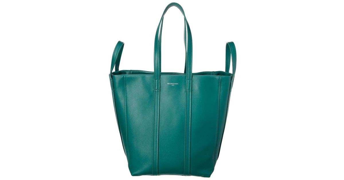 47d3167e67 Lyst - Balenciaga Laundry Cabas Small Leather Shopper Tote in Green