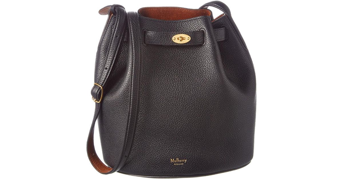 598570f1f1cd ... netherlands lyst mulberry abbey small classic grain leather bucket bag  in black f165c 0f340