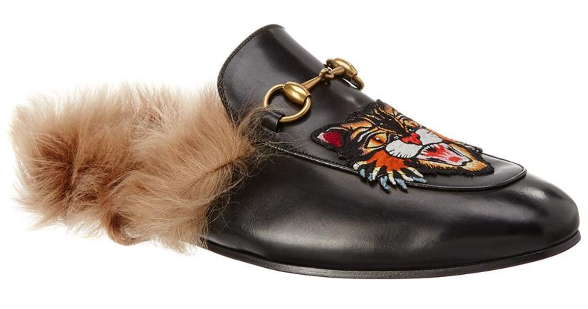 a3553bb65 Gucci Princetown Slippers With Angry Cat Appliqué in Black for Men - Save  36% - Lyst