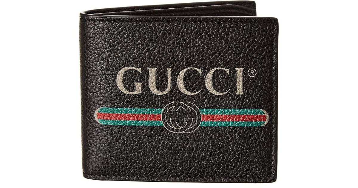 e2af0001fb40 Gucci Logo Print Leather Bifold Wallet in Black for Men - Save 11% - Lyst