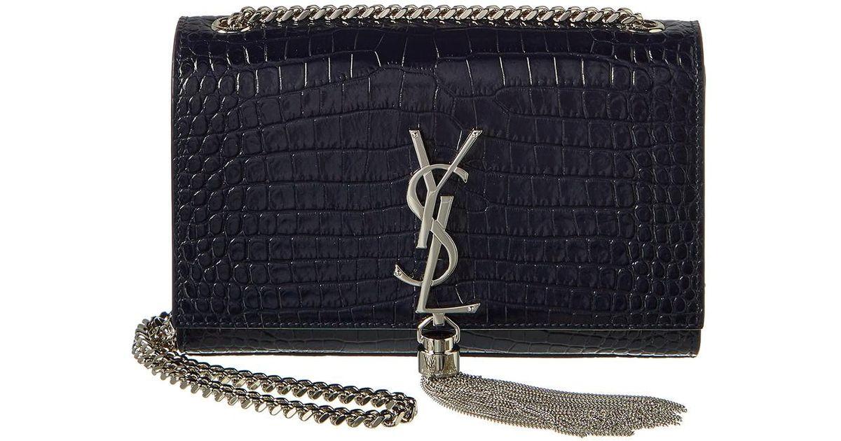 c06f08fc3d0 Saint Laurent Small Kate Tassel Croc-embossed Leather Shoulder Bag in Blue  - Lyst