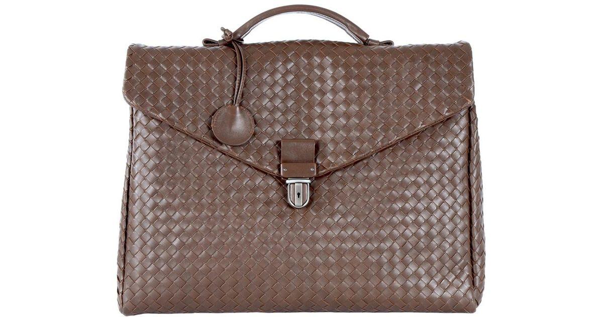 95f508700028 Bottega Veneta Leather Weave Briefcase in Brown for Men - Lyst