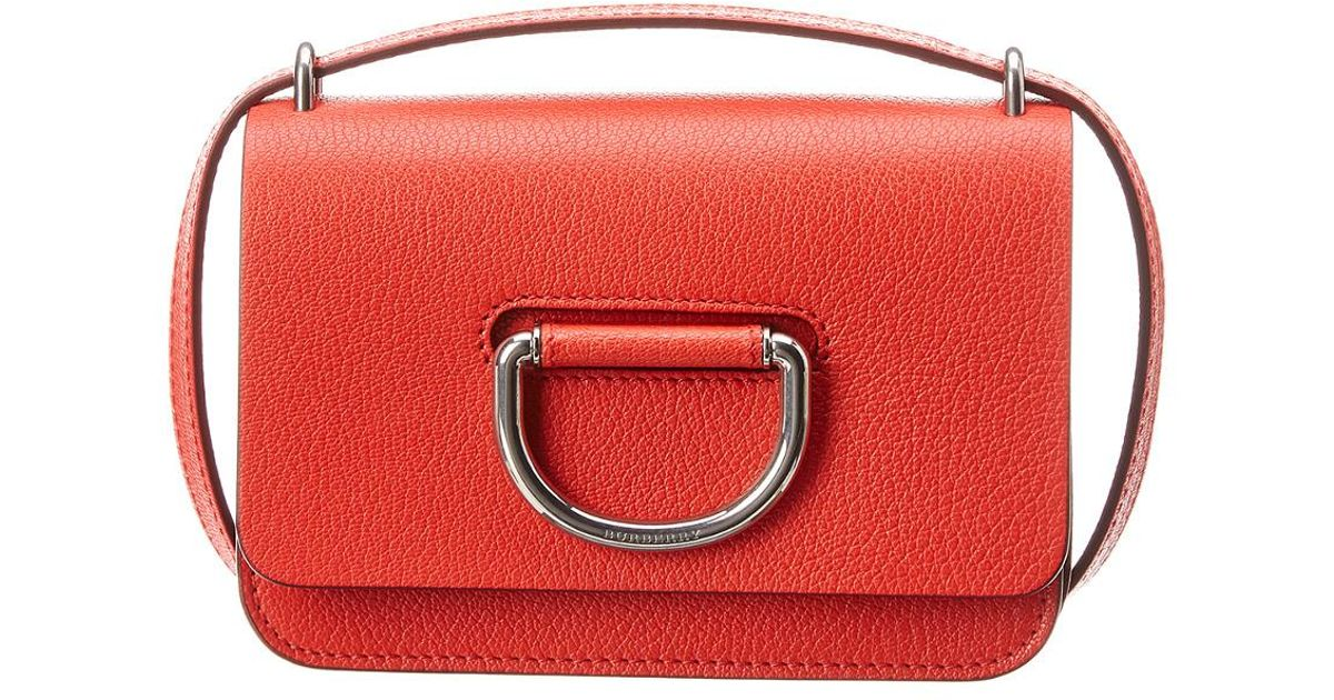 086fac1afab6 Lyst - Burberry Mini D-ring Leather Crossbody in Red