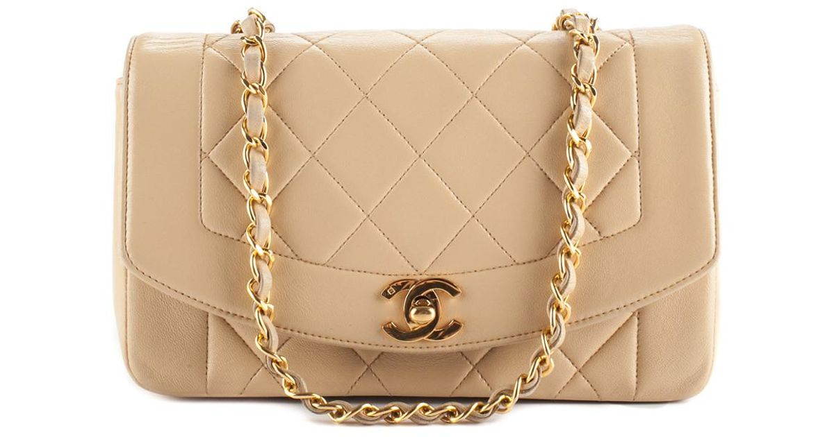 b2f3fe09657d Chanel Beige Quilted Lambskin Leather Small Diana Single Flap Bag, Never  Carried in Natural - Lyst