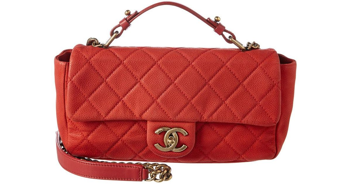 f238b4924fd03e Chanel Red Quilted Soft Caviar Leather Small Chic Flap Bag in Red - Save  14% - Lyst