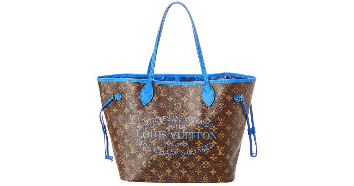 6b3239c9deda Louis Vuitton Limited Edition Blue Ikat Monogram Canvas Neverfull Mm in Blue  - Lyst
