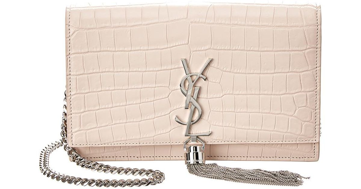 a491d28ba591 Lyst - Saint Laurent Kate Tassel Croc-embossed Leather Wallet On Chain in  Pink