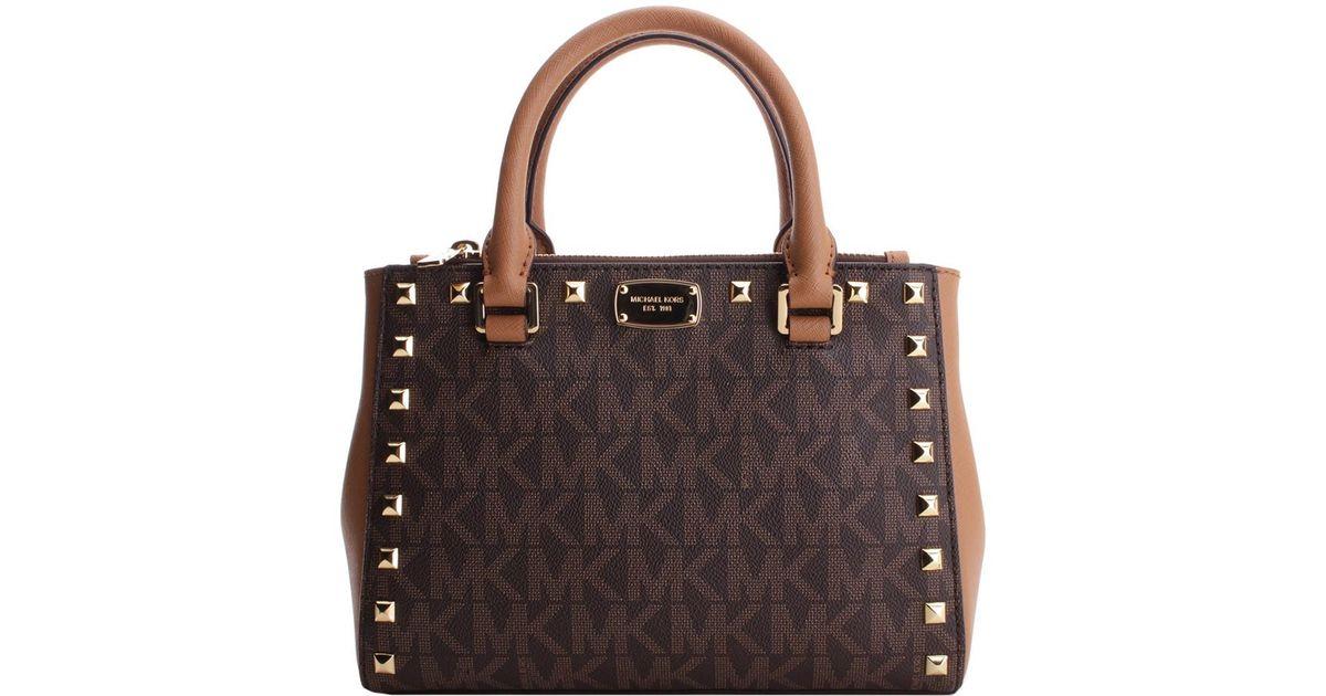 66c114c2a4a05d Lyst - Michael Kors Kellen Studded Xs Leather Satchel in Brown