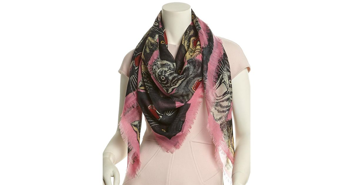 be333adee Gucci - Multicolor Tiger Face Print Cashmere, Wool, & Silk-blend Shawl -  Lyst