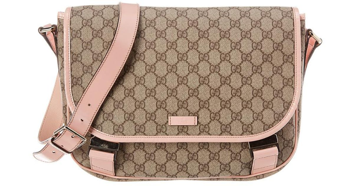 1ee12752f Gucci Brown GG Supreme Canvas & Pink Patent Leather Messenger Bag in Brown  - Lyst