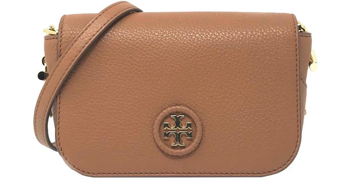 ba6940a38ff72 Tory Burch Whipstitch Leather Logo Mini Bag in Brown - Lyst