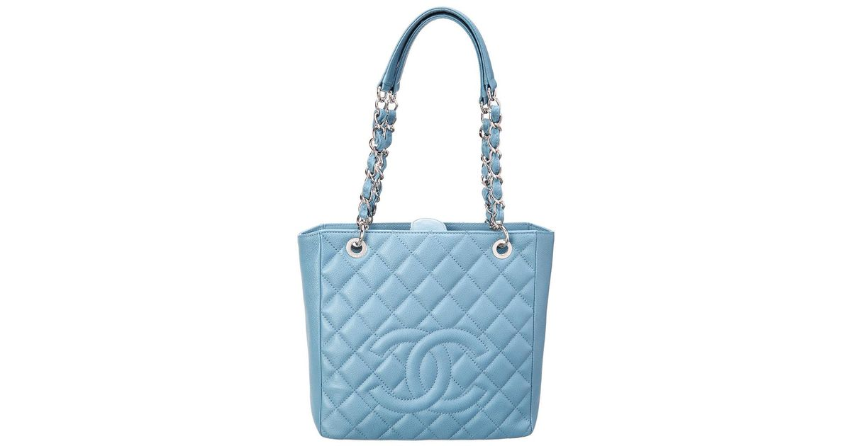 4569cc58 Chanel - Blue Quilted Caviar Leather Petite Shopper Tote - Lyst