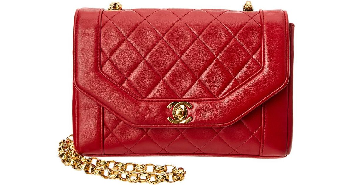 cd47a9ca6413 Lyst Chanel Red Quilted Lambskin Leather Small Half Flap Bag In