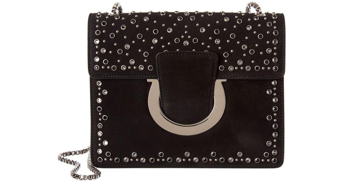 Lyst - Ferragamo Thalia Studded Suede Shoulder Bag in Black 6da92b1557e5b