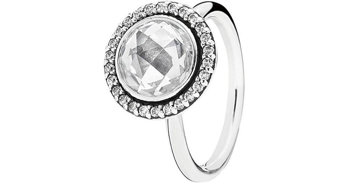 afcbd0e1b ... Lyst - Pandora Silver Cz Brilliant Legacy Ring in Metallic ...