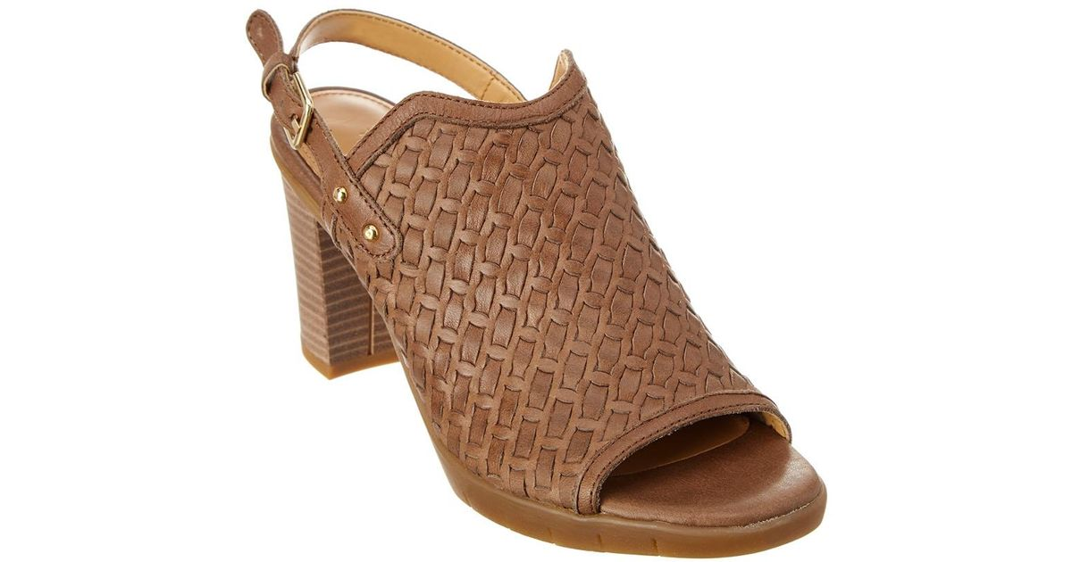 5c7f69e3665 Lyst - The Flexx The Weave Me Be Heeled Leather Sandal in Brown