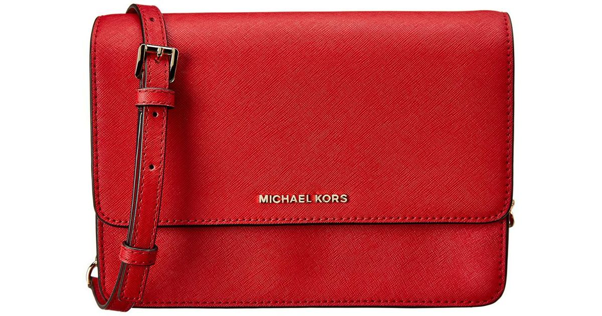 c8683a172d13 Lyst - MICHAEL Michael Kors Daniela Large Gusset Leather Crossbody in Red