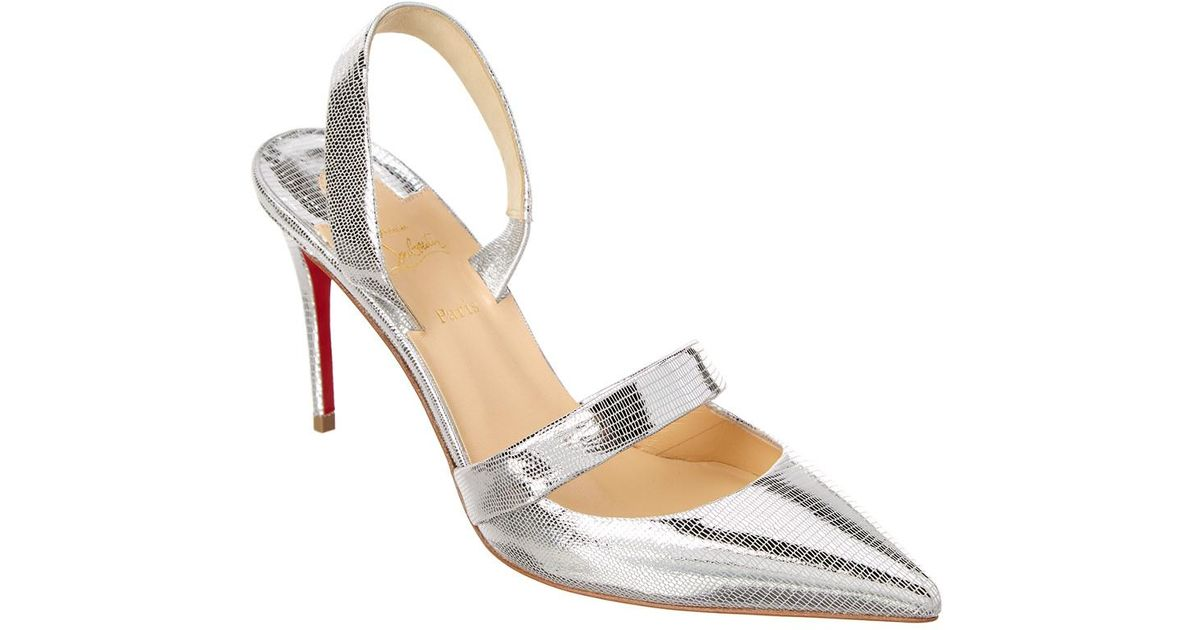 684a7b50893a Lyst - Christian Louboutin Actina 85 Dino Laminato Leather Slingback Pump  in Metallic