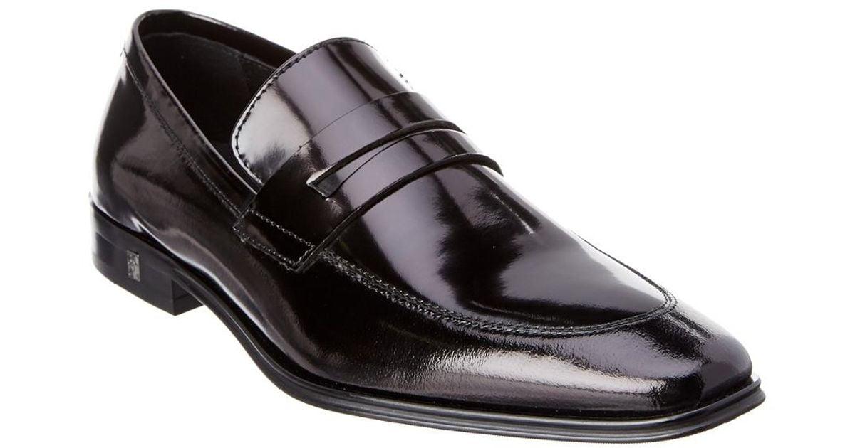 2bbacf006e4 Lyst - Versace Brushed Leather Penny Loafer in Black for Men