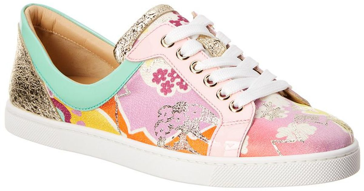 7ccc36611cf Christian Louboutin - Pink Flamingirl Printed Leather & Patent Sneaker -  Lyst