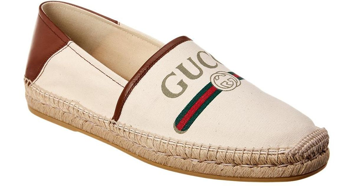 fcb46f879473 Lyst - Gucci Logo Canvas & Leather Espadrille in Brown for Men