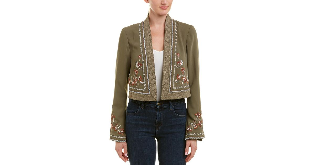 be534265b5 Lyst - BCBGMAXAZRIA Maxazria Embroidered Crop Jacket in Green
