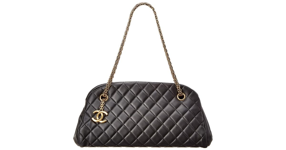 ab7edc5be577 Lyst - Chanel Black Quilted Lambskin Leather Mademoiselle Bag in Black