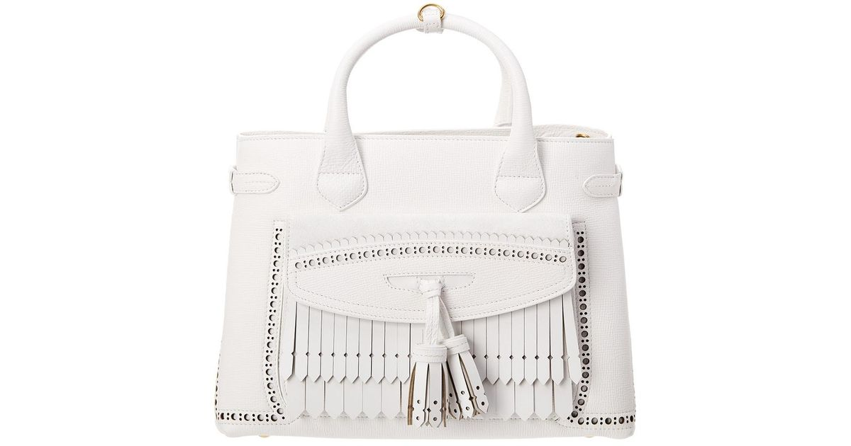 77dc93b043e9 Lyst - Burberry Medium Banner Brogue Detail Leathertote in White