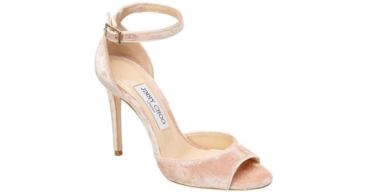 5f0d0b657 Lyst - Jimmy Choo Annie 100 Velvet Peep-toe Sandal in Pink