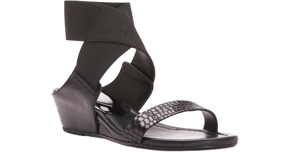 96e46784630 Lyst - Donald J Pliner Eeva Patent Wedge Sandal in Black