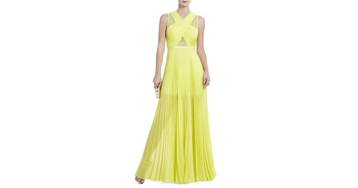 198703e981cc BCBGMAXAZRIA Caia Lemongrass Chiffon -pleated Dress Iqi6z035 in Yellow -  Lyst