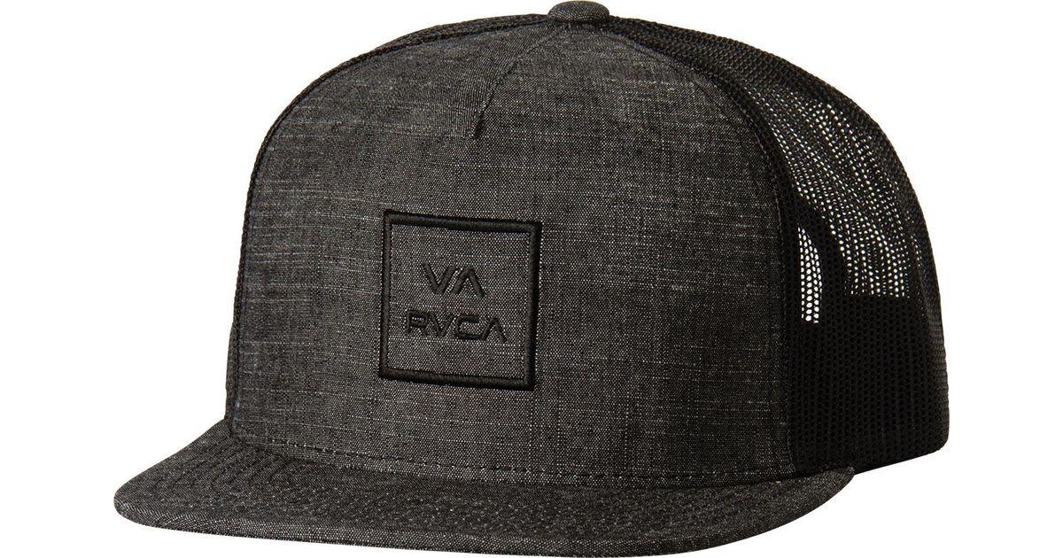 e763e69394d ... new arrivals lyst rvca va all the way truck hat in black for men 5d108  df6b5