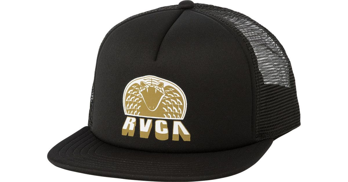 new product 37ded 7a140 RVCA King Cobra Trucker Hat in Black for Men - Lyst