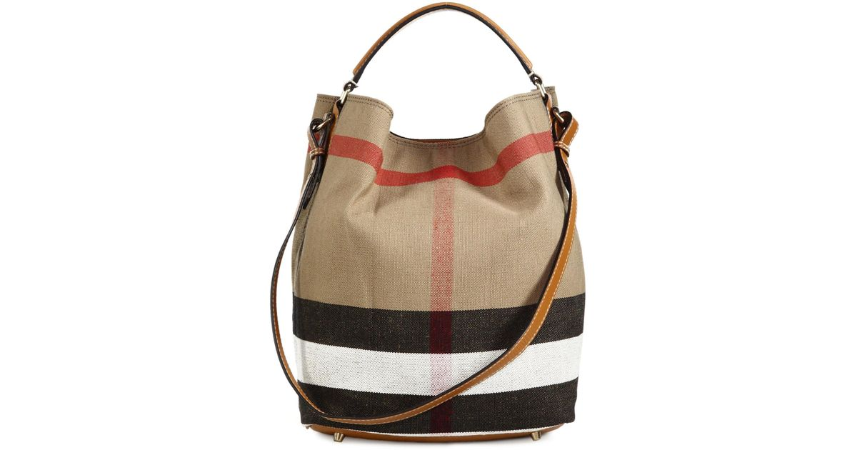 Lyst - Burberry The Medium Ashby House Check Cotton Shoulder Bag in Natural 79bbbbd7dfa36