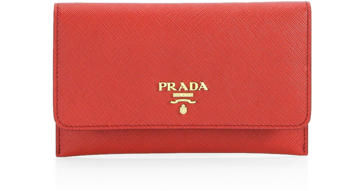 e48c702b9215 Prada Saffiano Leather Passport Holder And Card Case in Red - Lyst