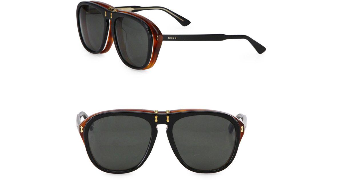 f08d3bf7ca Gucci 56mm Flip-up Pilot Sunglasses in Black for Men - Lyst