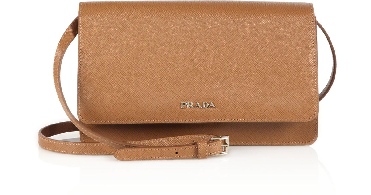 8616c6bdca8f ... france lyst prada saffiano lux small crossbody bag in brown e3490 d216a