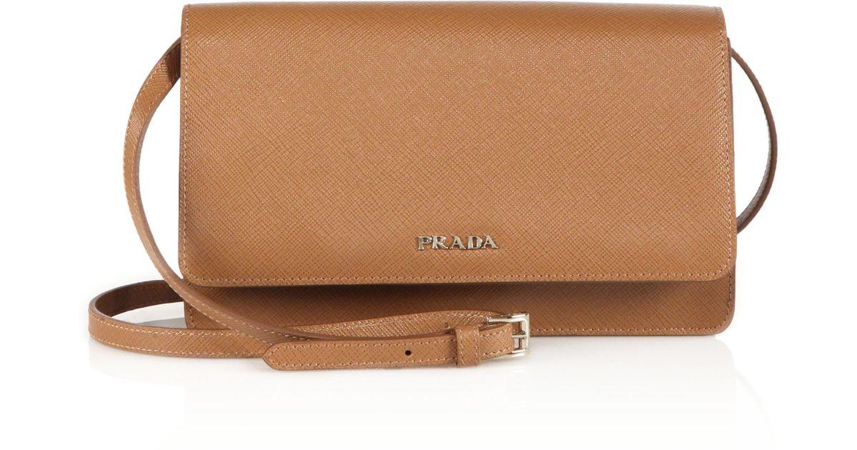 4c8f21163e ... france lyst prada saffiano lux small crossbody bag in brown e3490 d216a